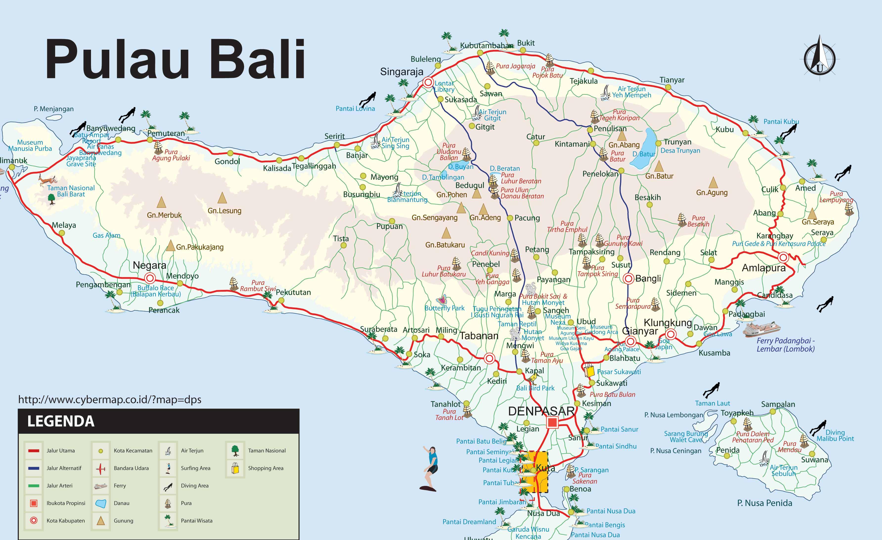 CARTES HD DE BALI EN INDONESIE