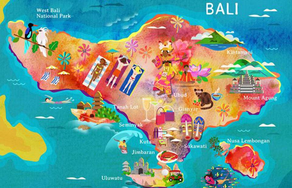 Carte Bali Chose A Voir.Itineraire Evaluer Les Temps De Trajets A Bali
